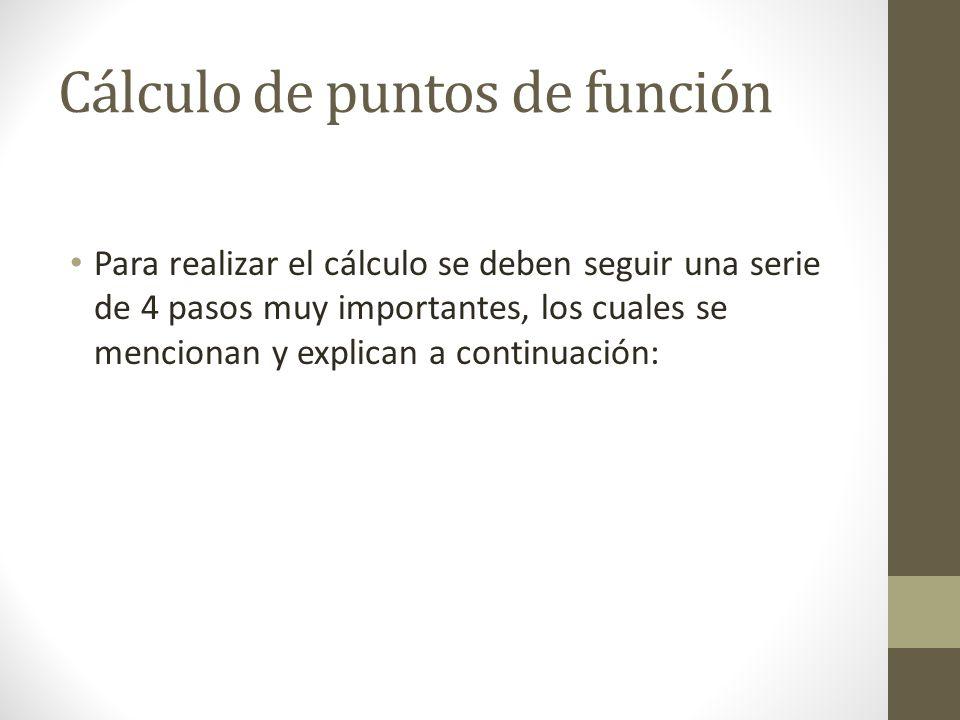 Cálculo de puntos de función Para realizar el cálculo se deben seguir una serie de 4 pasos muy importantes, los cuales se mencionan y explican a continuación: