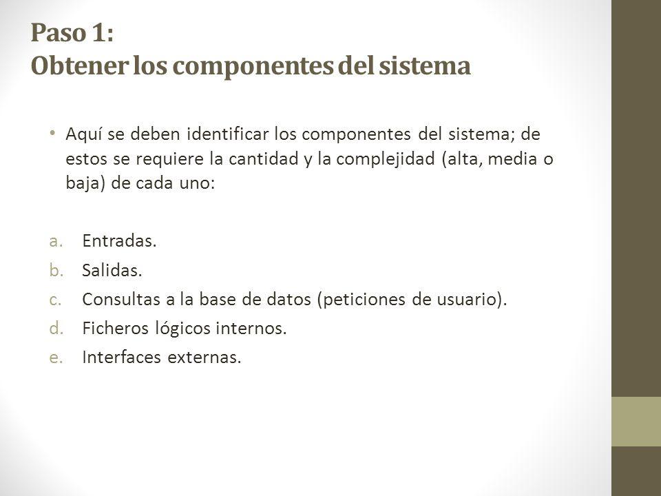 Paso 1: Obtener los componentes del sistema Aquí se deben identificar los componentes del sistema; de estos se requiere la cantidad y la complejidad (alta, media o baja) de cada uno: a.Entradas.