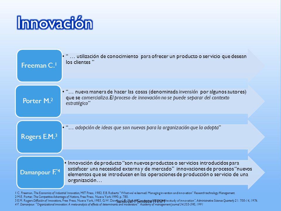 … utilización de conocimiento para ofrecer un producto o servicio que desean los clientes Freeman C. 1 … nueva manera de hacer las cosas (denominada i