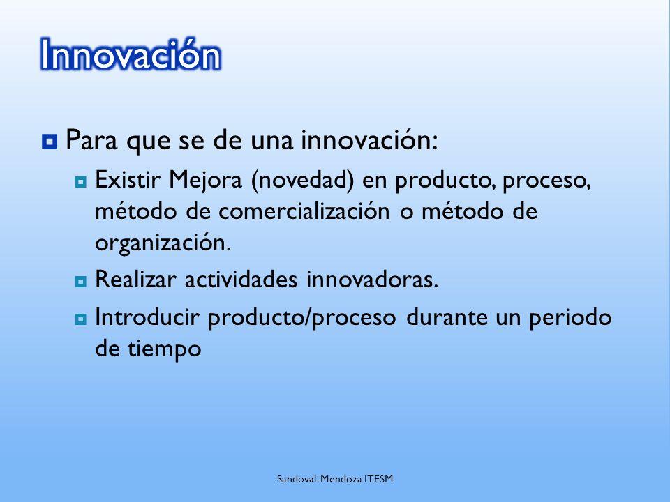 Para que se de una innovación: Existir Mejora (novedad) en producto, proceso, método de comercialización o método de organización. Realizar actividade