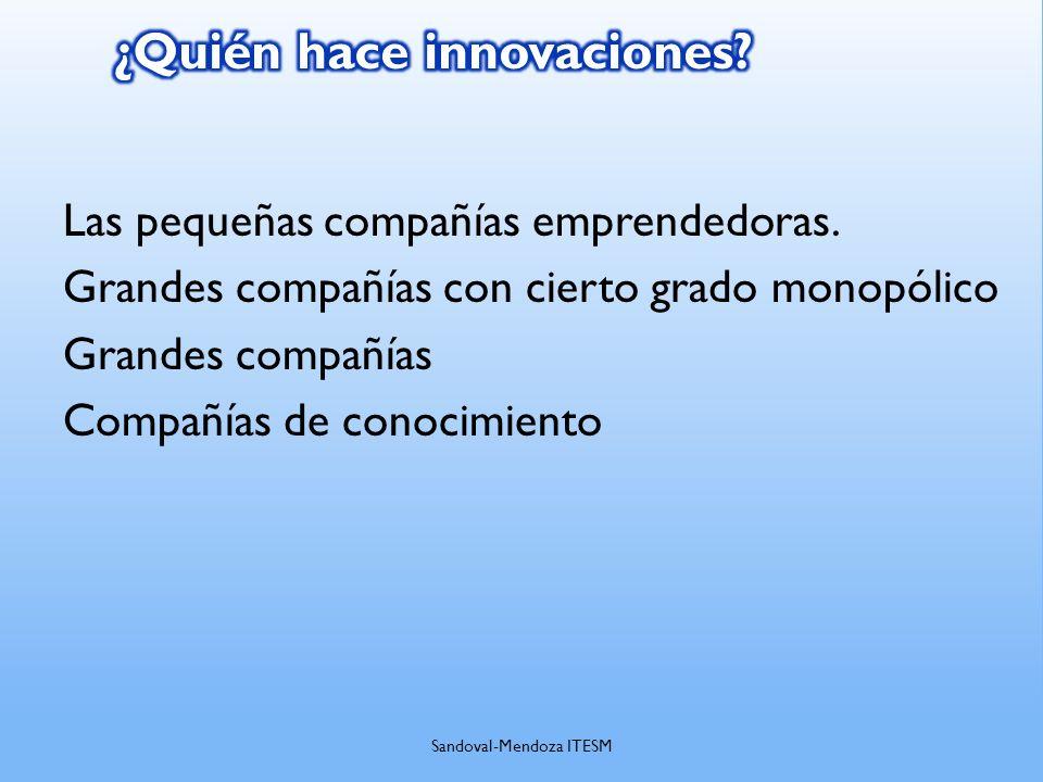 Las pequeñas compañías emprendedoras. Grandes compañías con cierto grado monopólico Grandes compañías Compañías de conocimiento Sandoval-Mendoza ITESM