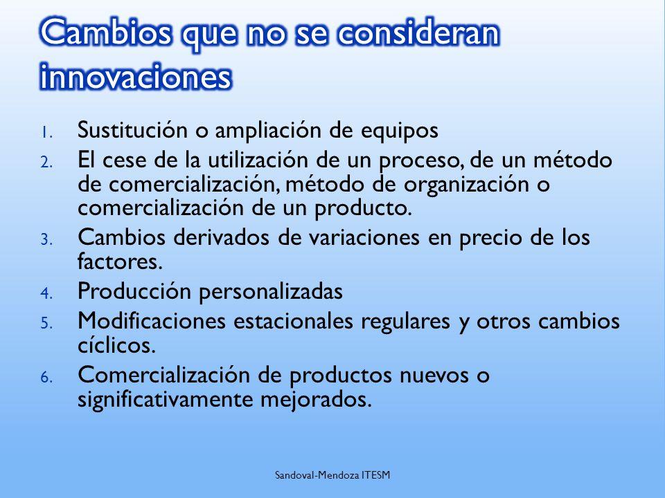 1. Sustitución o ampliación de equipos 2. El cese de la utilización de un proceso, de un método de comercialización, método de organización o comercia