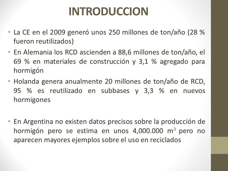 La CE en el 2009 generó unos 250 millones de ton/año (28 % fueron reutilizados) En Alemania los RCD ascienden a 88,6 millones de ton/año, el 69 % en m