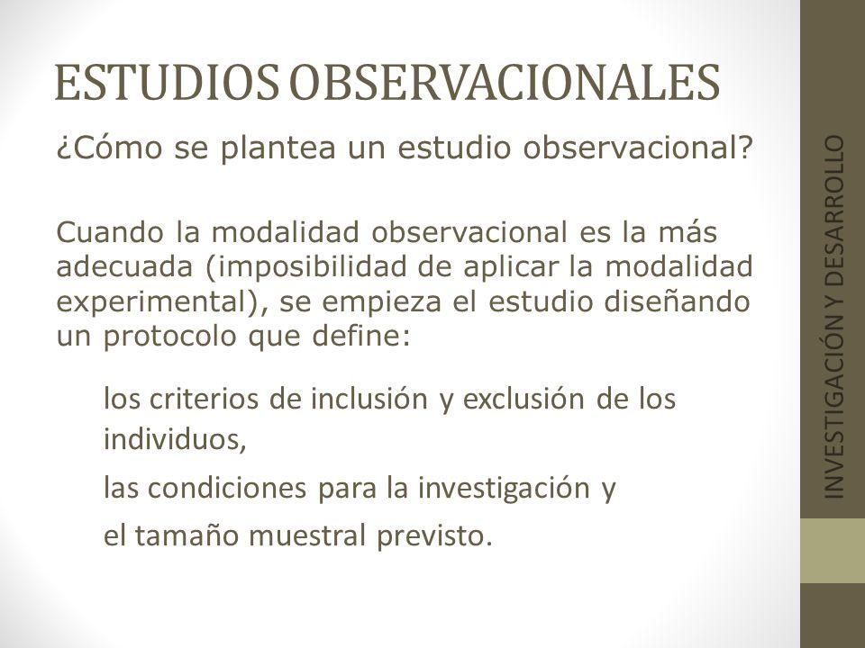 ESTUDIOS OBSERVACIONALES INVESTIGACIÓN Y DESARROLLO ¿Cómo se plantea un estudio observacional? Cuando la modalidad observacional es la más adecuada (i