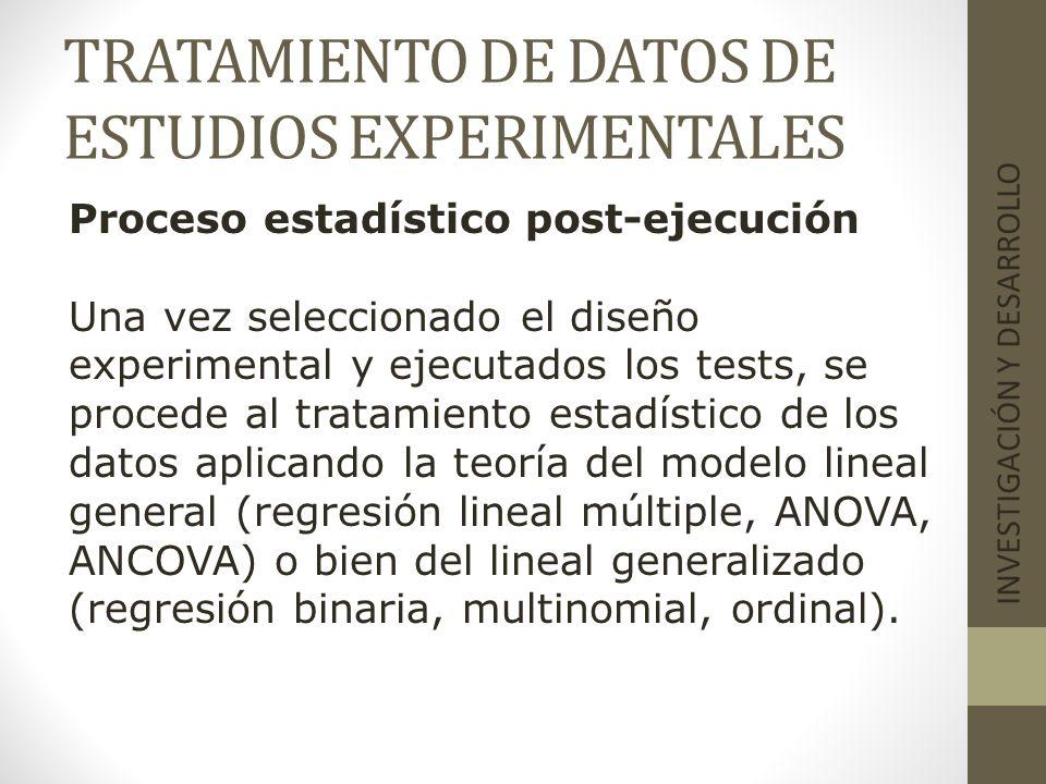 TRATAMIENTO DE DATOS DE ESTUDIOS EXPERIMENTALES INVESTIGACIÓN Y DESARROLLO Proceso estadístico post-ejecución Una vez seleccionado el diseño experimen