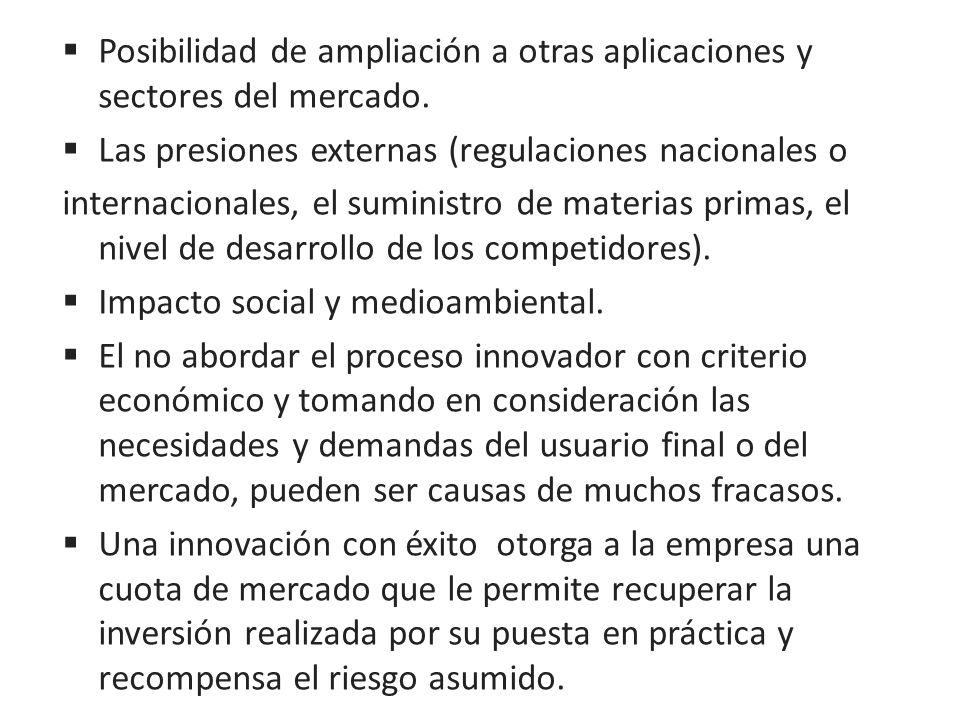 Posibilidad de ampliación a otras aplicaciones y sectores del mercado. Las presiones externas (regulaciones nacionales o internacionales, el suministr