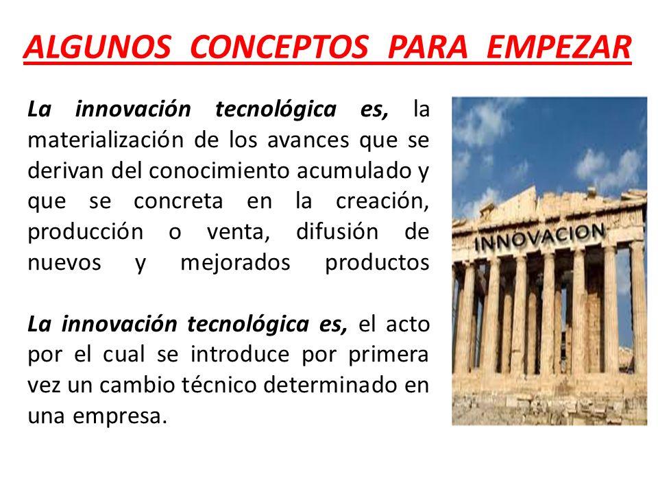 ALGUNOS CONCEPTOS PARA EMPEZAR La innovación tecnológica es, la materialización de los avances que se derivan del conocimiento acumulado y que se conc