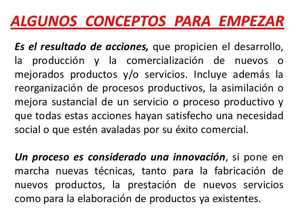 Es el resultado de acciones, que propicien el desarrollo, la producción y la comercialización de nuevos o mejorados productos y/o servicios. Incluye a