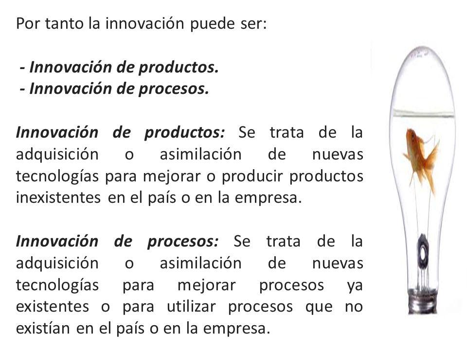 Por tanto la innovación puede ser: - Innovación de productos. - Innovación de procesos. Innovación de productos: Se trata de la adquisición o asimilac