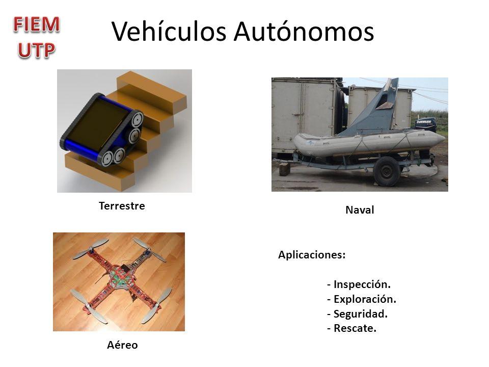 Vehículos Autónomos Terrestre Naval Aéreo Aplicaciones: - Inspección. - Exploración. - Seguridad. - Rescate.