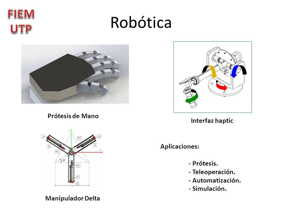 Robótica Prótesis de Mano Interfaz haptic Manipulador Delta Aplicaciones: - Prótesis. - Teleoperación. - Automatización. - Simulación.