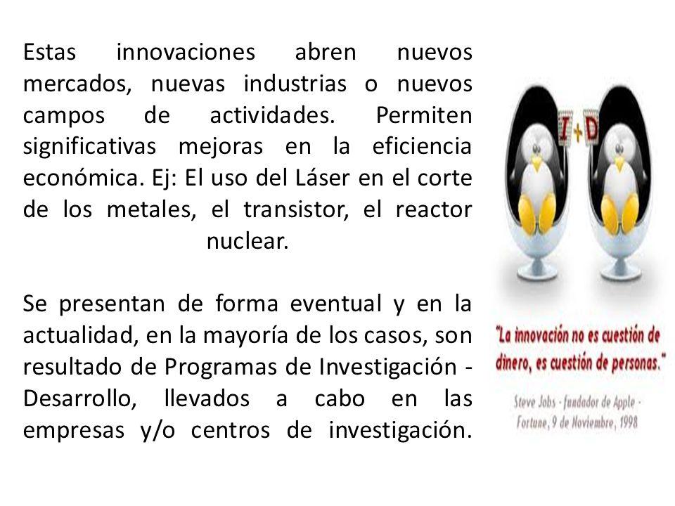 Estas innovaciones abren nuevos mercados, nuevas industrias o nuevos campos de actividades. Permiten significativas mejoras en la eficiencia económica