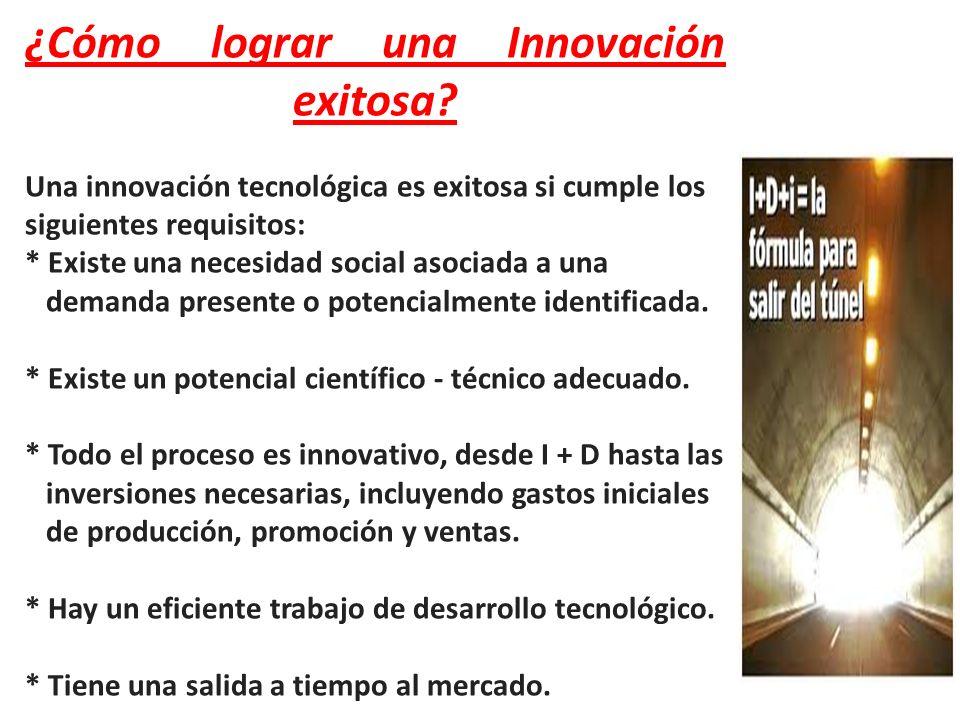 ¿Cómo lograr una Innovación exitosa? Una innovación tecnológica es exitosa si cumple los siguientes requisitos: * Existe una necesidad social asociada