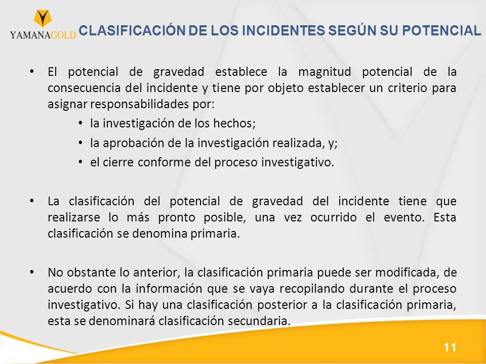 CLASIFICACIÓN DE LOS INCIDENTES SEGÚN SU POTENCIAL El potencial de gravedad establece la magnitud potencial de la consecuencia del incidente y tiene p