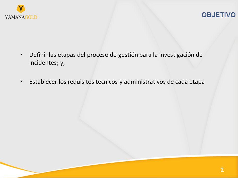 OBJETIVO Definir las etapas del proceso de gestión para la investigación de incidentes; y, Establecer los requisitos técnicos y administrativos de cad