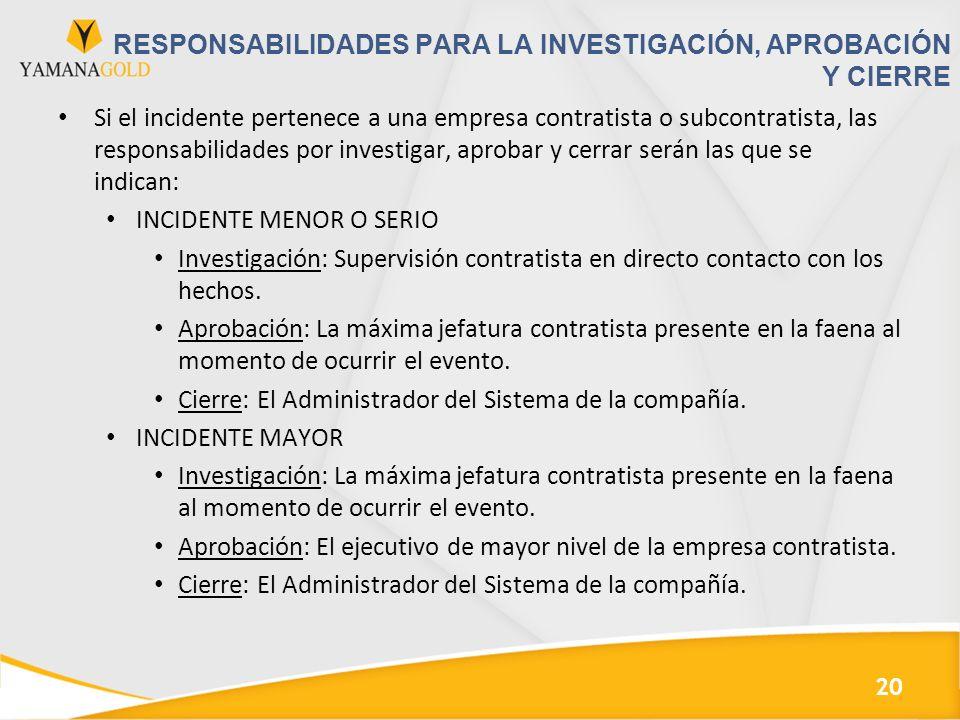 RESPONSABILIDADES PARA LA INVESTIGACIÓN, APROBACIÓN Y CIERRE Si el incidente pertenece a una empresa contratista o subcontratista, las responsabilidad