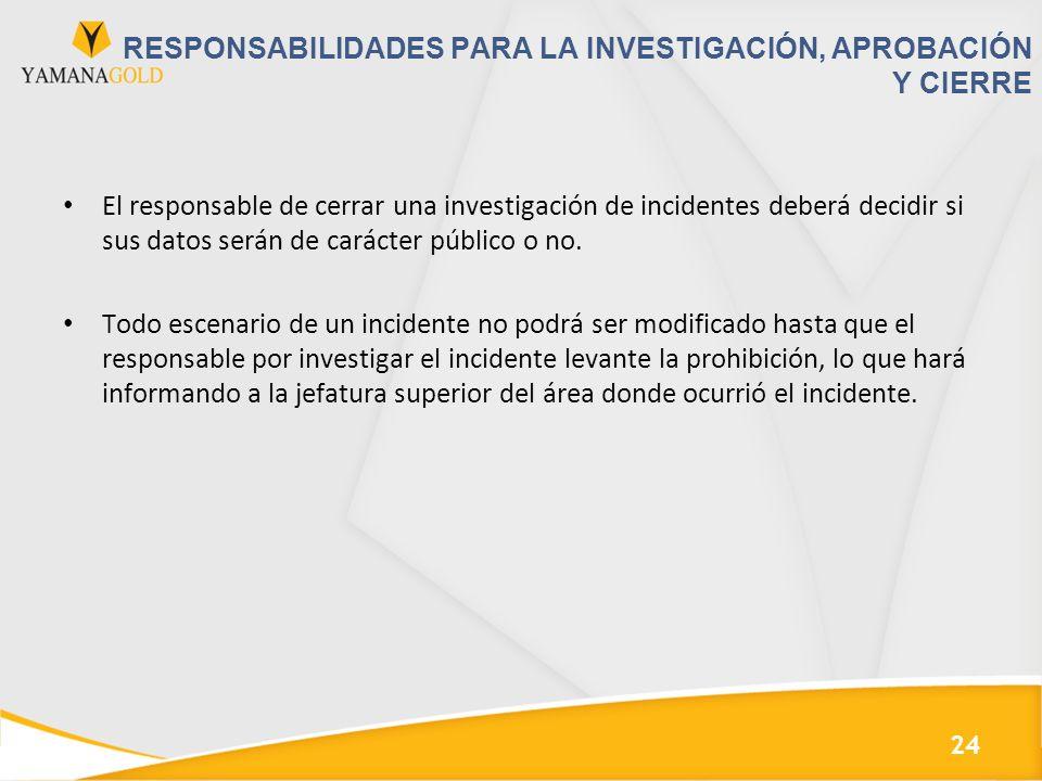 RESPONSABILIDADES PARA LA INVESTIGACIÓN, APROBACIÓN Y CIERRE El responsable de cerrar una investigación de incidentes deberá decidir si sus datos serán de carácter público o no.