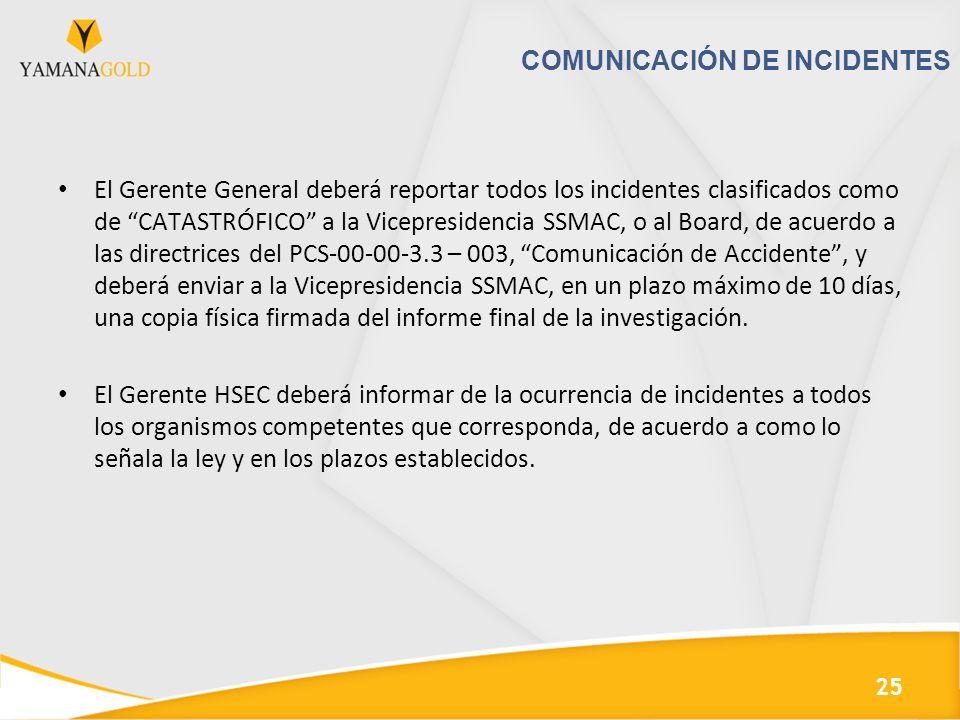 COMUNICACIÓN DE INCIDENTES El Gerente General deberá reportar todos los incidentes clasificados como de CATASTRÓFICO a la Vicepresidencia SSMAC, o al Board, de acuerdo a las directrices del PCS-00-00-3.3 – 003, Comunicación de Accidente, y deberá enviar a la Vicepresidencia SSMAC, en un plazo máximo de 10 días, una copia física firmada del informe final de la investigación.