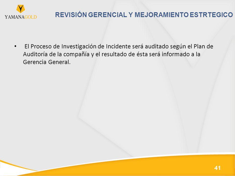 REVISIÓN GERENCIAL Y MEJORAMIENTO ESTRTEGICO El Proceso de Investigación de Incidente será auditado según el Plan de Auditoría de la compañía y el resultado de ésta será informado a la Gerencia General.