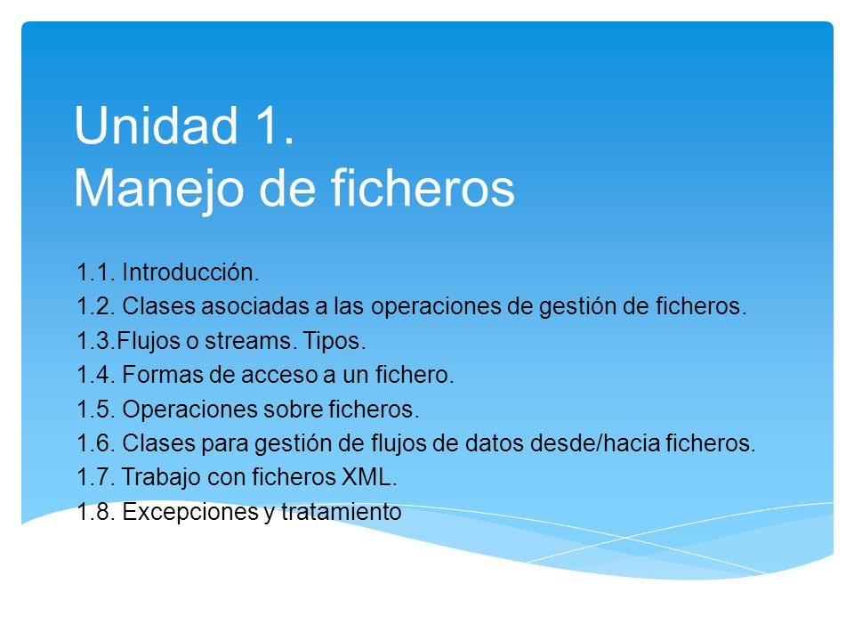 Unidad 1. Manejo de ficheros 1.1. Introducción. 1.2. Clases asociadas a las operaciones de gestión de ficheros. 1.3.Flujos o streams. Tipos. 1.4. Form