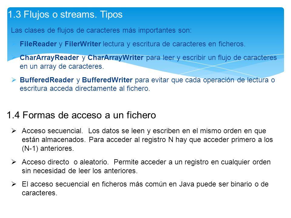 Las clases de flujos de caracteres más importantes son: FileReader y FilerWriter lectura y escritura de caracteres en ficheros. CharArrayReader y Char