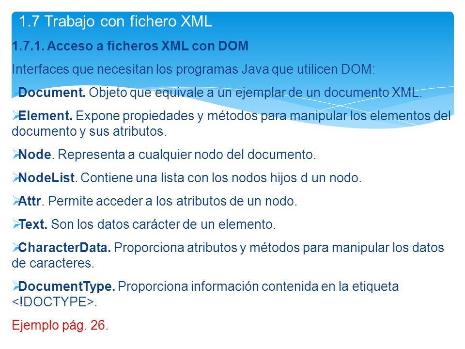 1.7.1. Acceso a ficheros XML con DOM Interfaces que necesitan los programas Java que utilicen DOM: Document. Objeto que equivale a un ejemplar de un d