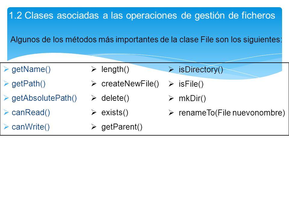 getName() getPath() getAbsolutePath() canRead() canWrite() 1.2 Clases asociadas a las operaciones de gestión de ficheros length() createNewFile() dele
