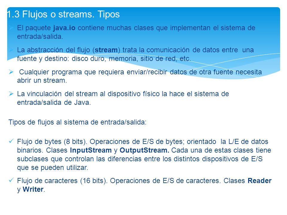 El paquete java.io contiene muchas clases que implementan el sistema de entrada/salida. La abstracción del flujo (stream) trata la comunicación de dat