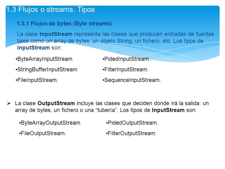 1.3.1 Flujos de bytes (Byte streams) La clase InputStream representa las clases que producen entradas de fuentes tales como un array de bytes, un obje
