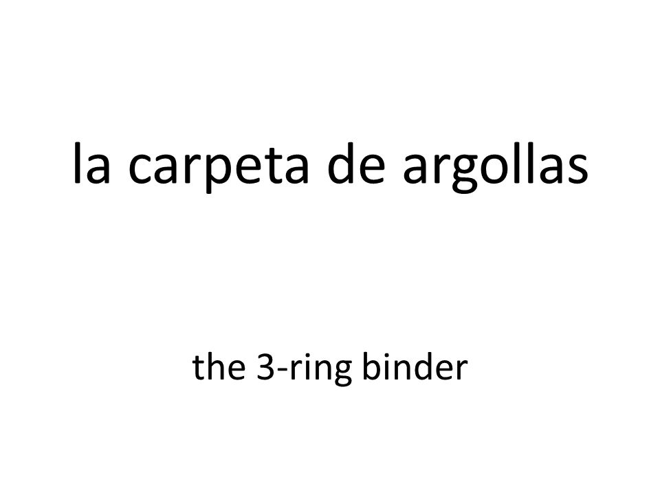 la carpeta de argollas the 3-ring binder