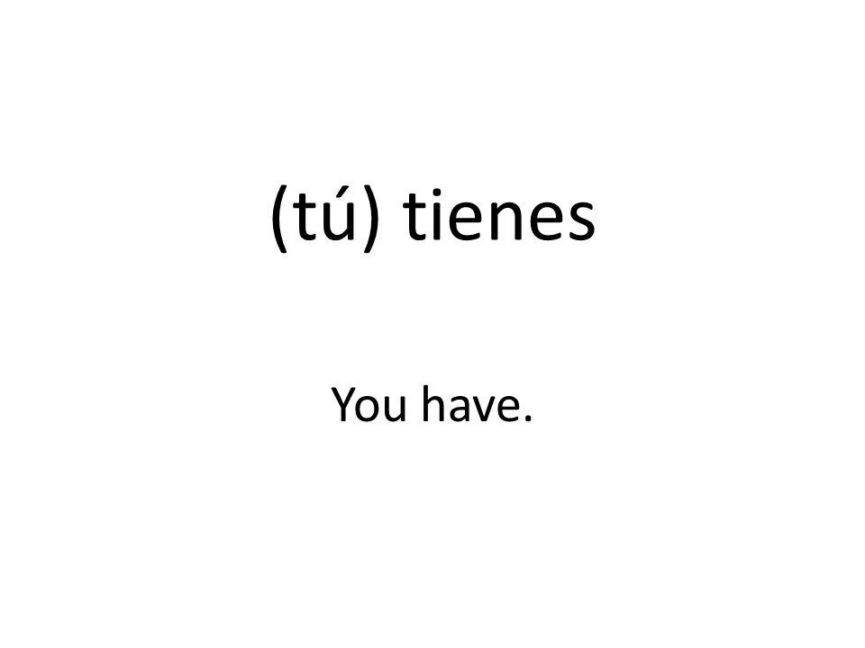 (tú) tienes You have.