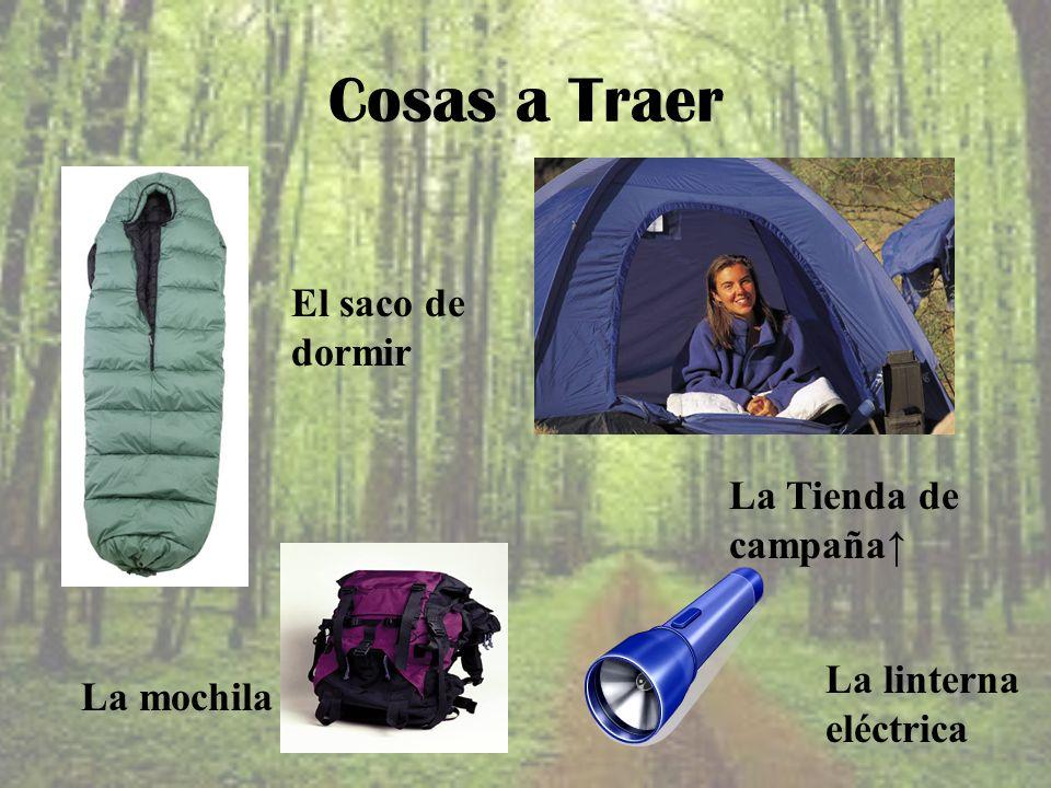 Cosas a Traer El saco de dormir La mochila La Tienda de campaña La linterna eléctrica
