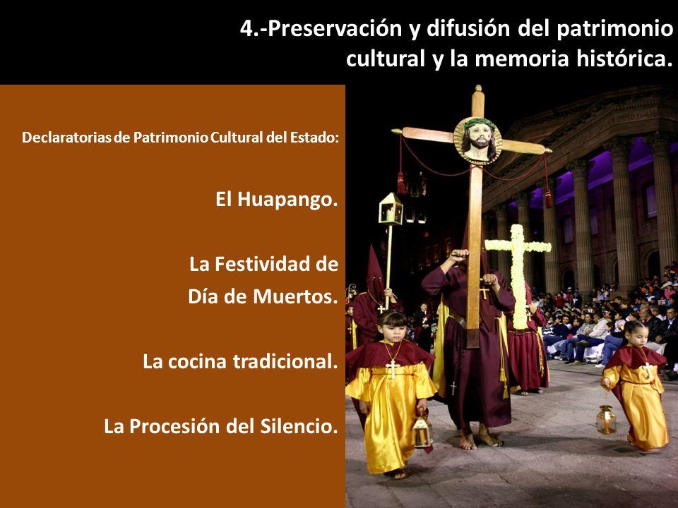 Declaratorias de Patrimonio Cultural del Estado: El Huapango. La Festividad de Día de Muertos. La cocina tradicional. La Procesión del Silencio. 4.-Pr
