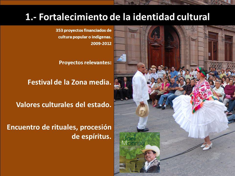 353 proyectos financiados de cultura popular o indígenas. 2009-2012 Proyectos relevantes: Festival de la Zona media. Valores culturales del estado. En