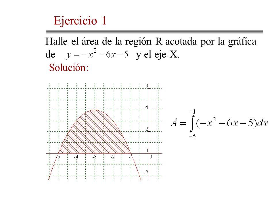 Halle el área de la región R acotada por la gráfica de y el eje X. Solución: Ejercicio 1