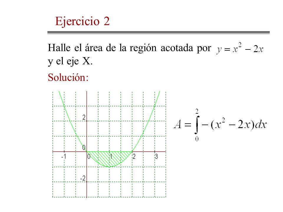 Halle el área de la región acotada por y el eje X. Solución: Ejercicio 2
