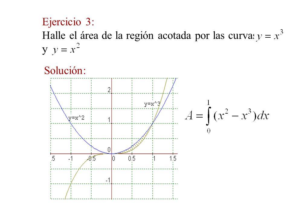 Ejercicio 3: Halle el área de la región acotada por las curvas y Solución: