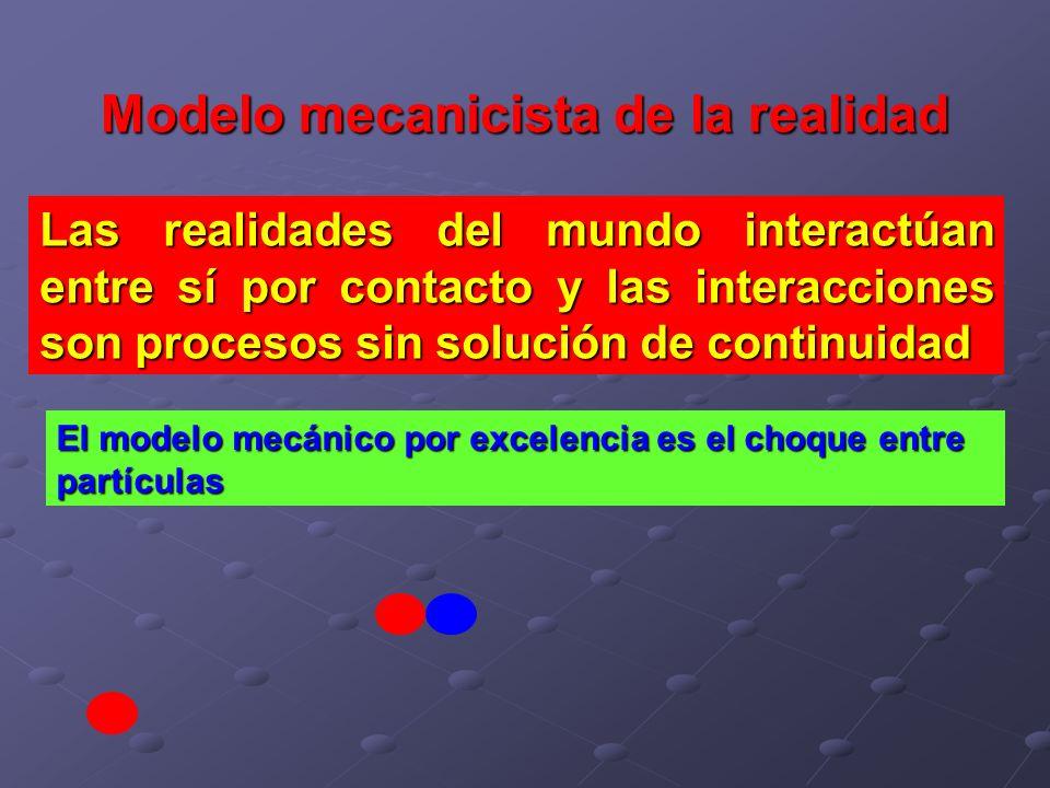 Modelo mecanicista de la realidad Las realidades del mundo interactúan entre sí por contacto y las interacciones son procesos sin solución de continui