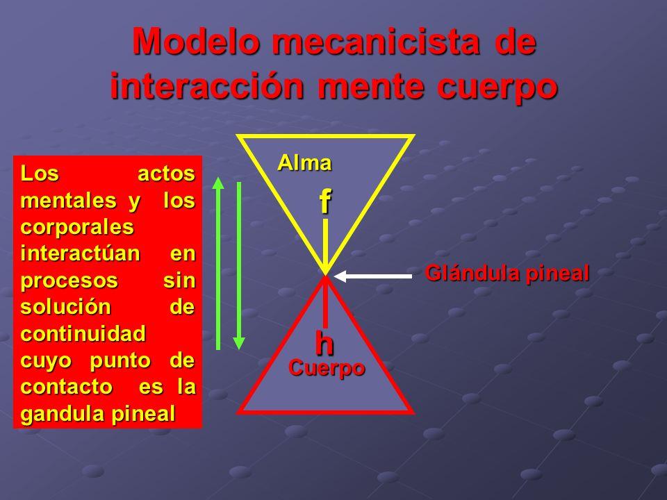 Modelo mecanicista de interacción mente cuerpo Cuerpo Alma Glándula pineal h f f h Los actos mentales y los corporales interactúan en procesos sin sol