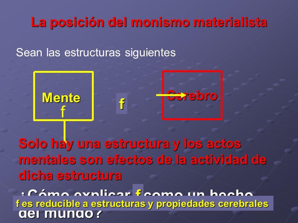 La posición del monismo materialista Sean las estructuras siguientes Mente Cerebro f ¿Cómo explicar f como un hecho del mundo? f Solo hay una estructu