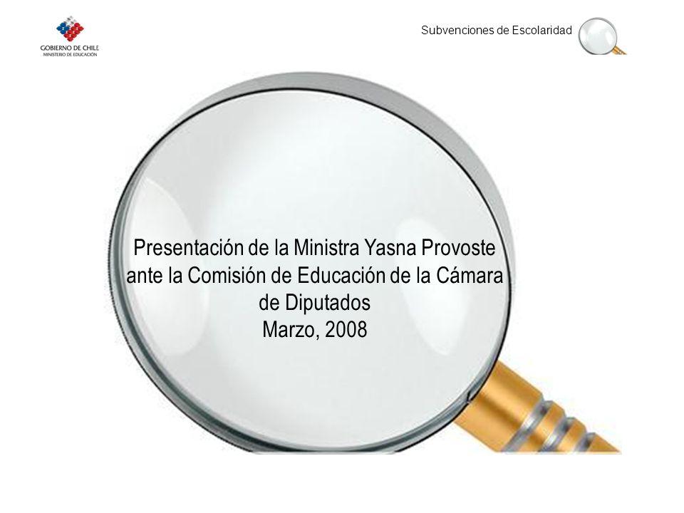 Subvenciones de Escolaridad Presentación de la Ministra Yasna Provoste ante la Comisión de Educación de la Cámara de Diputados Marzo, 2008