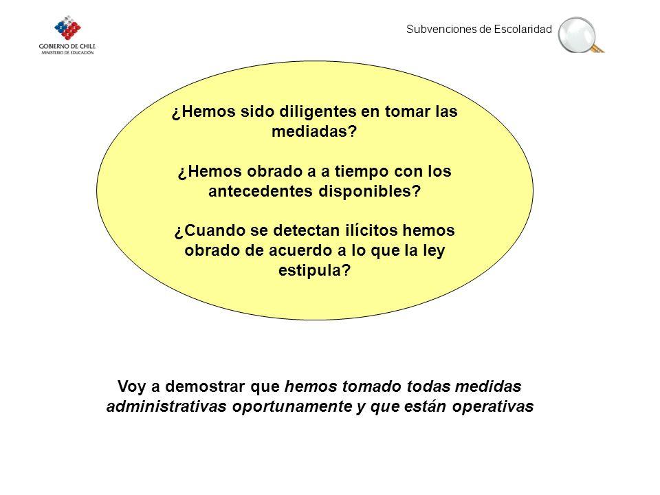 Subvenciones de Escolaridad ¿Hemos sido diligentes en tomar las mediadas.