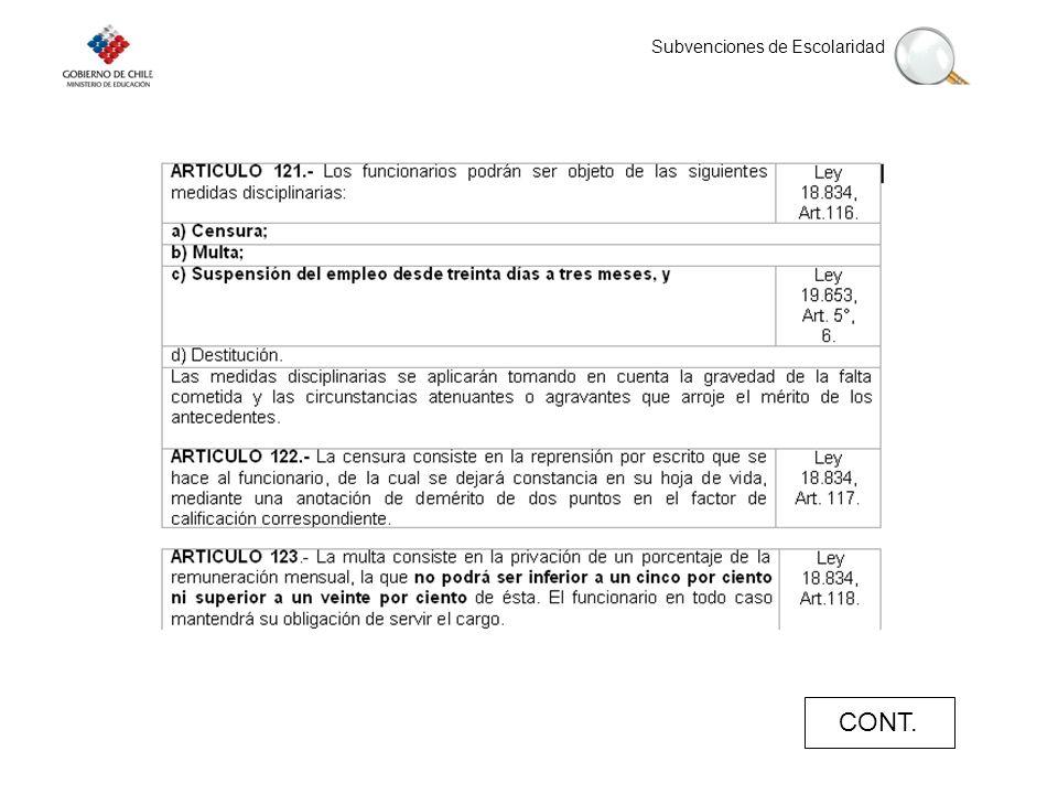 Subvenciones de Escolaridad CONT.