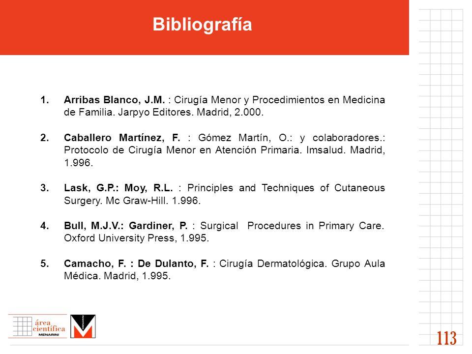 Bibliografía 1.Arribas Blanco, J.M. : Cirugía Menor y Procedimientos en Medicina de Familia. Jarpyo Editores. Madrid, 2.000. 2. Caballero Martínez, F.