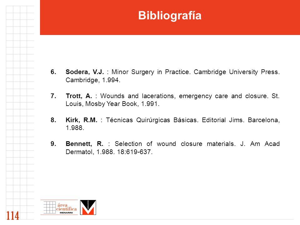 Bibliografía 6.Sodera, V.J.: Minor Surgery in Practice.