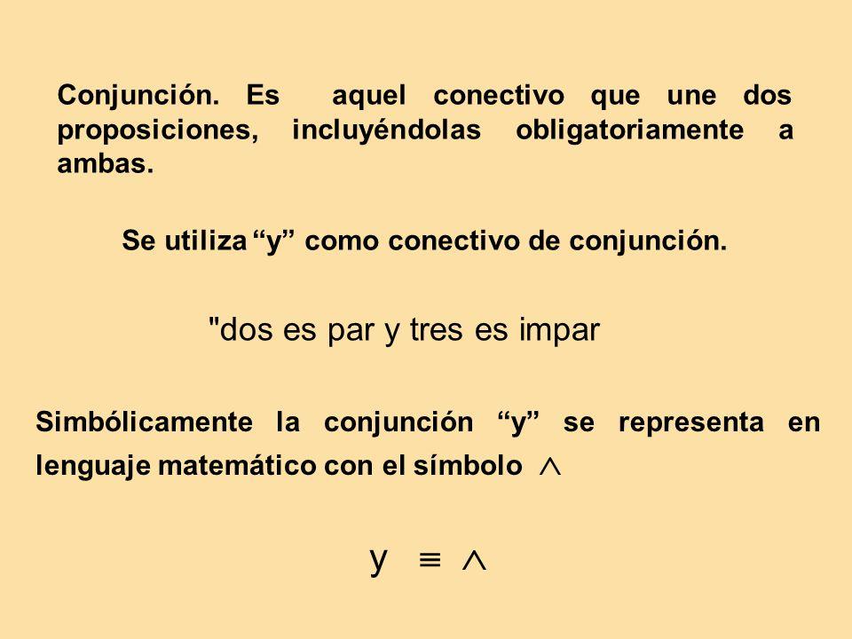 Conjunción.Es aquel conectivo que une dos proposiciones, incluyéndolas obligatoriamente a ambas.