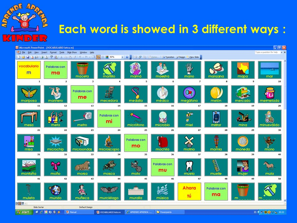 The VOCABULARY LISTS are ESSENTIAL, because they are the foundation for the rest of the program exercises. All the activities on the computer or the w