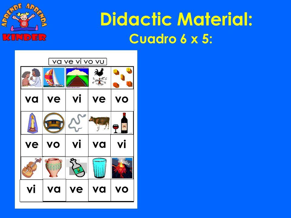 Didactic Material: Cuadro 6 x 5: va ve vi vo vu va