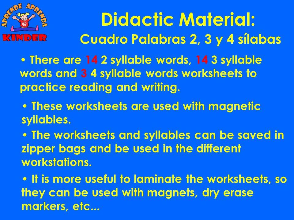 Didactic Material: Cuadro 6 x 5: va ve vi vo vavevi