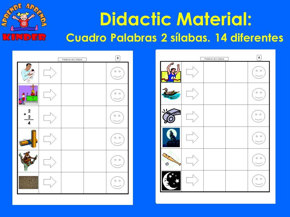 Didactic Material: Cuadro Palabras 2, 3 y 4 sílabas manovecucanagocacomasala